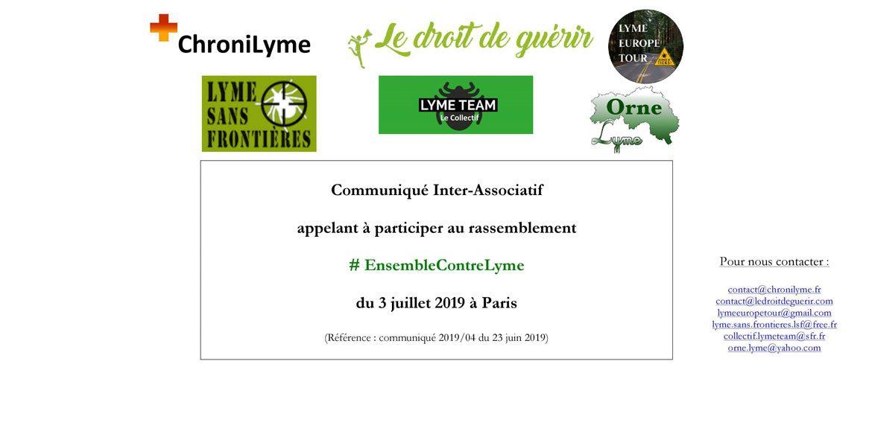 Communiqué Inter-associatif n°4/2019 du 23 juin: 6 associations appellent à rejoindre le Rassemblement national citoyen pacifique Tous Ensemble Contre Lyme du 3 juillet 2019