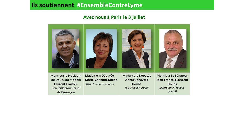 Tous #EnsembleContreLyme les élus Laurent CROIZIER, Marie-Christine DALLOZ, Annie GENEVARD, Jean-François LONGEOT seront présents aux grand Rassemblement Pacifique mercredi 3 juillet 2019