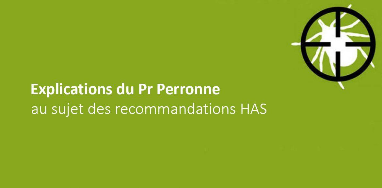 Explications du Pr Perronne au sujet des recommandations HAS