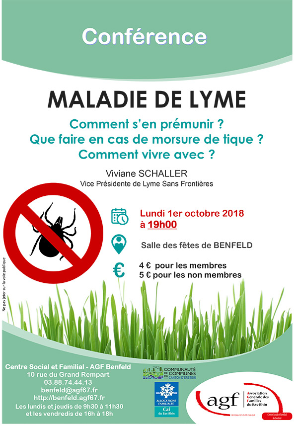Conférence Lyme de Viviane Schaller, BENFELD (67) @ Salle des fêtes | Benfeld | Grand Est | France