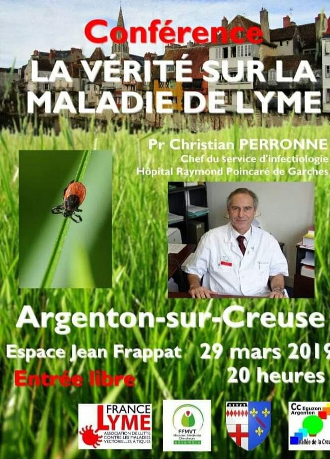 """Conférence du Pr Perronne : """" La vérité sur la maladie de Lyme"""" Argenton-sur-Creuse (Indre 36) @ Espace Jean Frappat"""