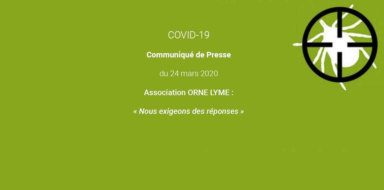 """"""" La peur ne favorise pas la réflexion """" – Communiqué de Presse du 24 mars 2020 de l'association ORNE LYME"""